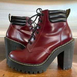 Dr. Martens Persephone Red Leather Heeled Boots 7